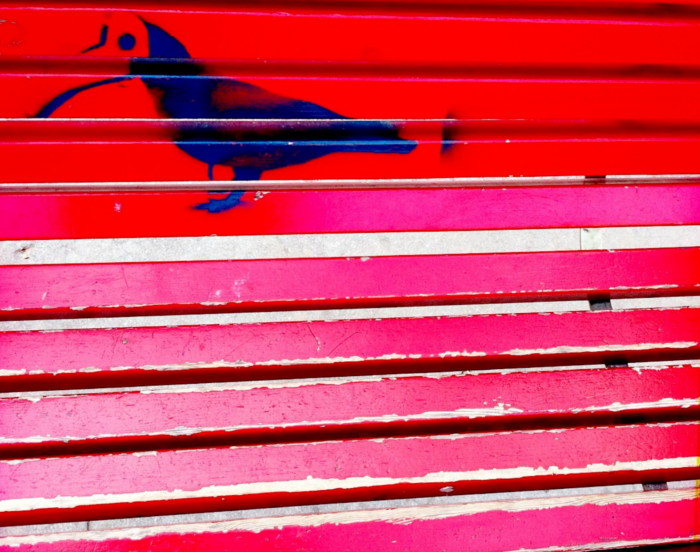 stencil of bird on red bench