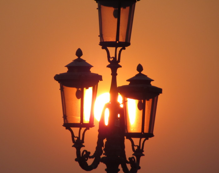Venice street lamps seen at sunset